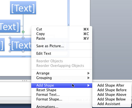 Add Shape sub-menu provides options to add a new shape to org charts