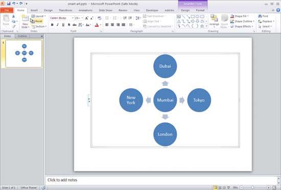 Diverging Radial SmartArt graphic in PowerPoint 2010