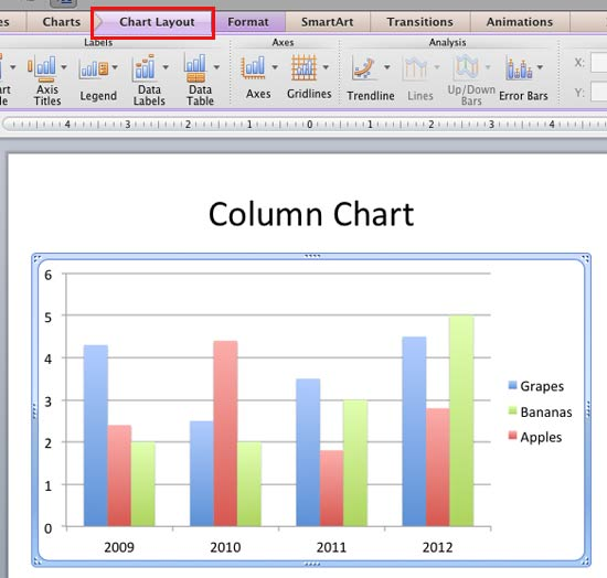 Default postion of Tick marks in a Column chart
