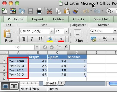 Category names changed within the Excel sheet