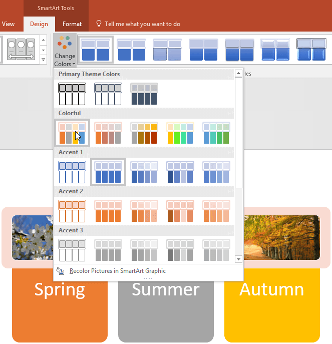 Change Colors for a SmartArt Graphic in PowerPoint 2016 for Windows