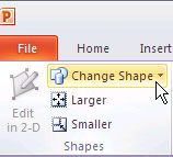Change Shape button selected