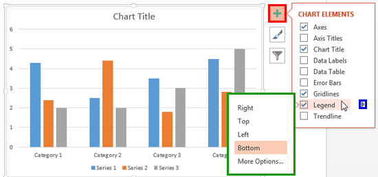 Legend options accessed without using contextual chart tabs