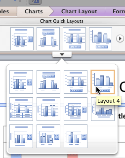 New layout selected within the Chart Quick Layouts gallery