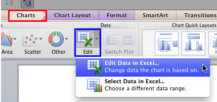 Edit Data in Excel option