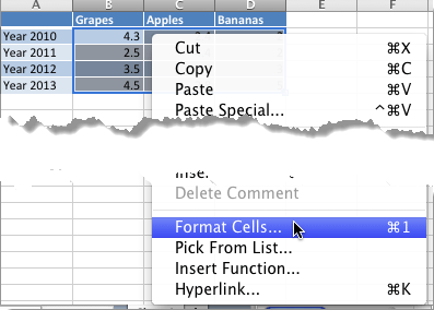 Format Cells option within the contextual menu