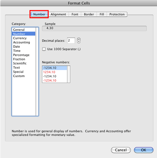 Number format options within the Format Cells dialog box