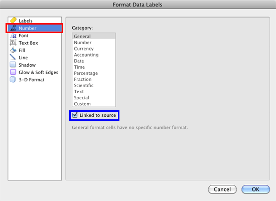 Number option within Format Data Labels dialog box