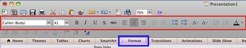 Formatting Toolbar in PowerPoint 2011 for Mac