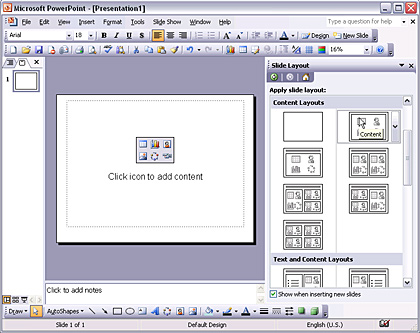PowerPoint Interface with blank layout