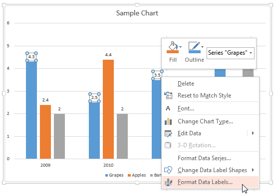Format Data Labels option
