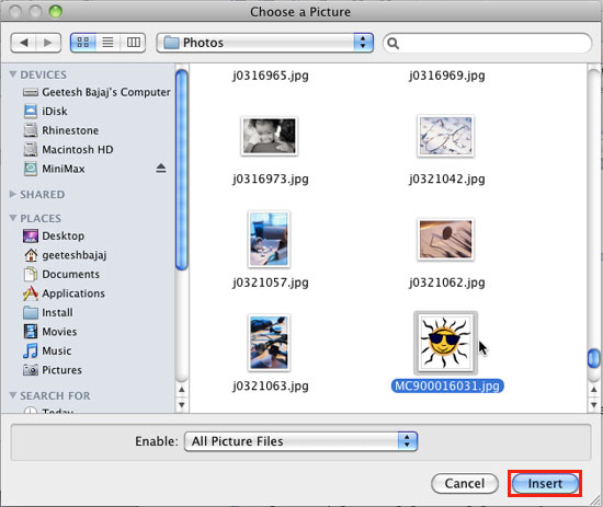 Choose a Picture dialog box
