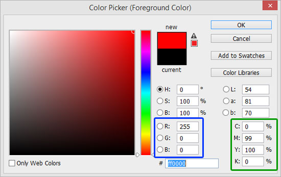 Adobe Photoshop's Color Picker dialog