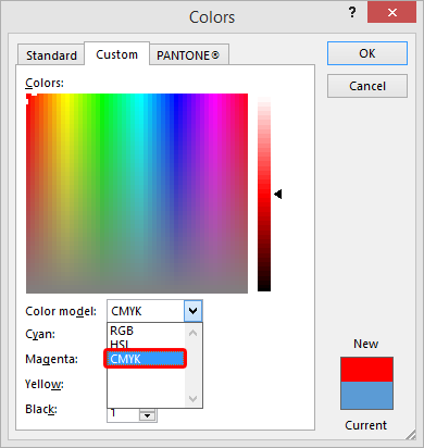 CMYK is an option available within Microsoft Publisher