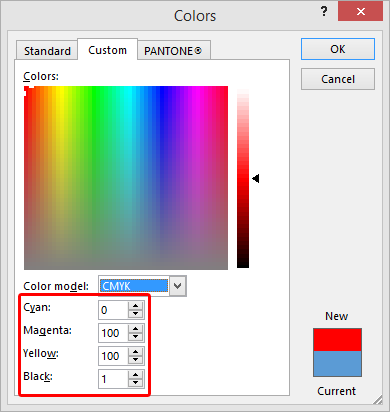 Note the CMYK values are a little different than Photoshop