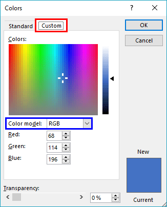 Colors dialog box