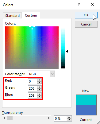 Colors dialog box with changed RGB values