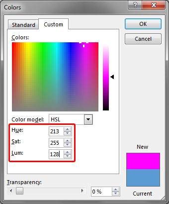 Colors dialog box with changed HSL values