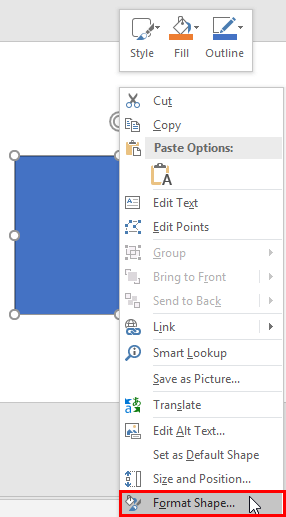 Format Shape option within the right-click contextual menu