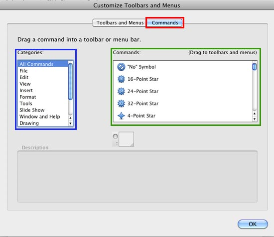 Commands tab within the Customize Toolbars and Menus dialog box