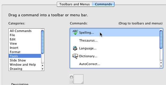 Select the command to be added to the Toolbar