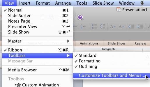 Select the Customize Toolbars and Menus option