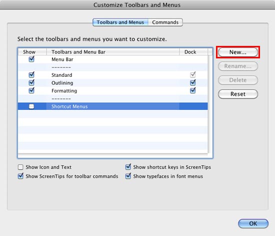Customize Toolbars and Menus dialog box