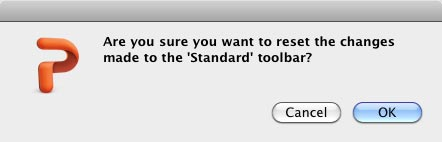 Are you sure you want to reset the Toolbar?