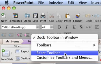 Reset Toolbar option within the contextual menu
