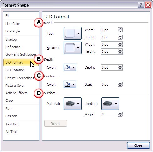 3-D Format options within Format Shape dialog box