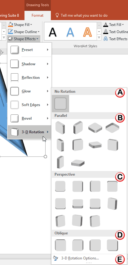 3-D Rotation sub-gallery within the Shape Effects drop-down gallery
