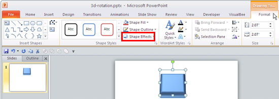 Shape Effects button within Drawing Tools Format tab of the Ribbon