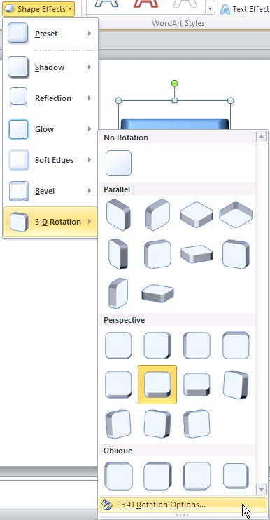 3-D Rotation Options within 3-D Roation gallery