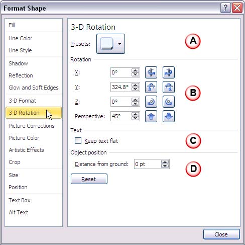 3-D Rotation options within Format Shape dialog box