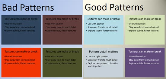 Choose patterns and their colors carefully