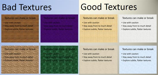 Choose a texture wisely for your slide background