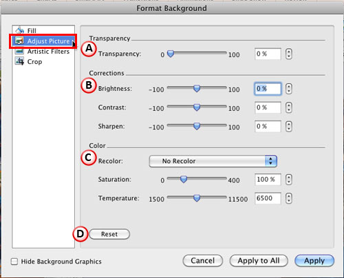 Adjust Picture options within the Format Background dialog box