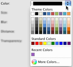 Shadow color options