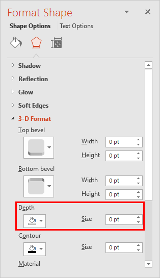 Depth option within Format Shape Task Pane