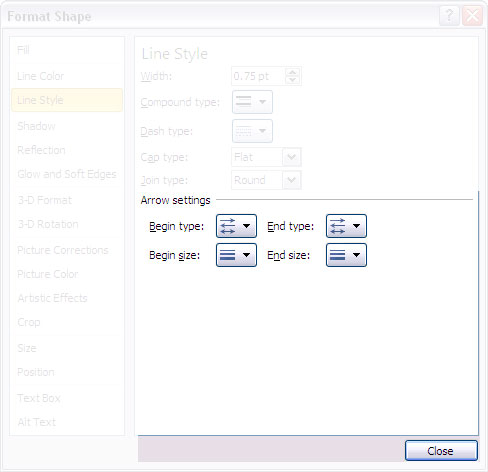 Arrow settings options within Format Shape dialog box