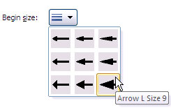 Begin arrow size options
