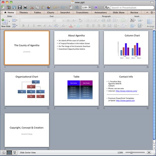 Presentation in Slide Sorter view