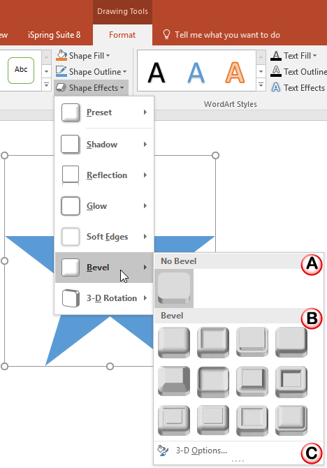 Bevel sub-gallery within the Shape Effects drop-down gallery