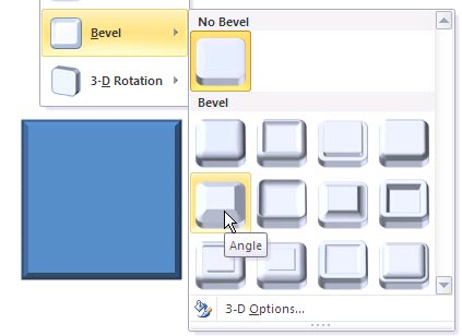 Apply bevel effects to shapes in powerpoint 2010 for windows bevel effect applied to a rectangle shape toneelgroepblik