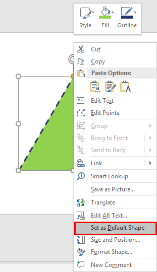 Set as Default Shape option to be selected