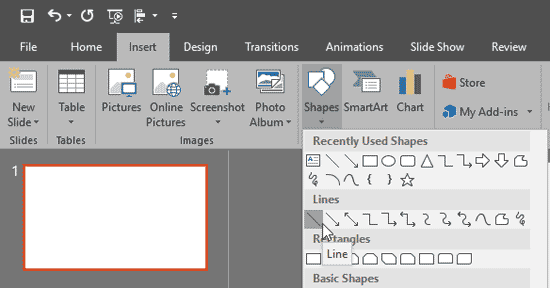 Line shape within the Shapes drop-down gallery