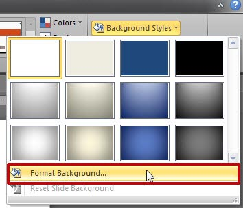 Format Background option within Background Styles gallery