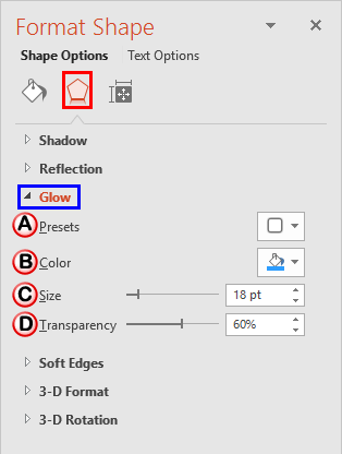 Glow Options within Format Shape Task Pane