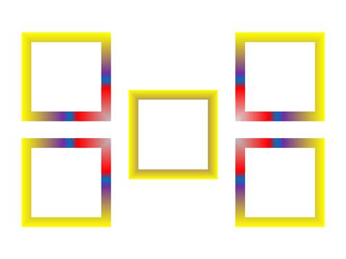 Shapes with rectangular gradient outlines centered from different positions