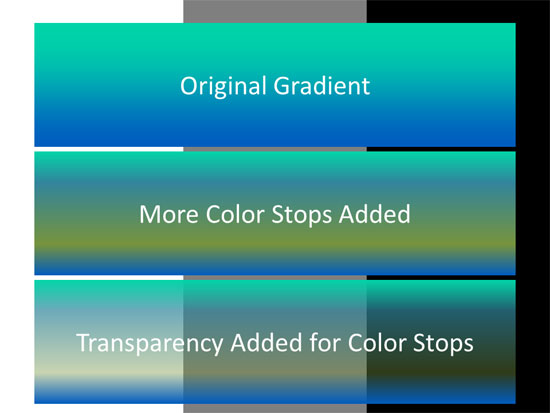 Add colors and transparency to your gradient stops